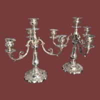 Pair of Gorham Chantilly Sterling Silver Four Light Candelabras