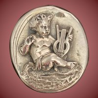 Sterling Silver Cherub with Harp Paperweight