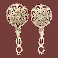 Reticulated Repousse Sterling Silver Bonbon Spoons Pair