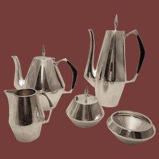 Reed & Barton Sterling Silver Diamond Pattern Five-Piece Tea and Coffee Set, Gio Ponti