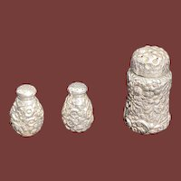 Shiebler Sterling Silver Repoussé Salt & Pepper Shakers and Sugar Shaker