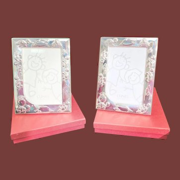 Sterling Silver Unusual Child Turtle Picture Frames Pair