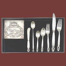Georg Jensen Acorn Sterling Silver 42 Piece Dinner Service