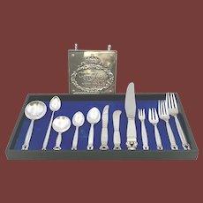 Georg Jensen Acorn Sterling Silver 94 Piece Dinner Service