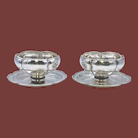 The Kalo Shop Sterling Silver Hand Hammered S12 Mayonnaise Bowls Pair
