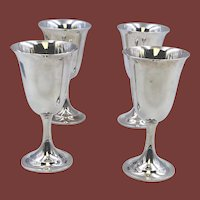 International Sterling Silver Set of 4 Lord Saybrook Goblets #11950