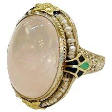Art Deco Rose Quartz Seed Pearl Ring
