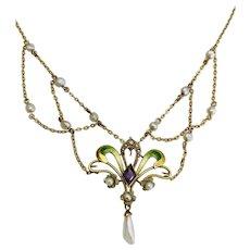 Victorian era  Art Nouveau Festoon Enamel Necklace