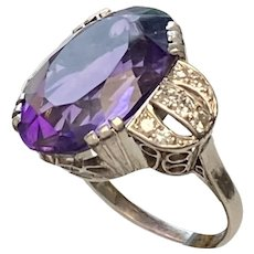Mid Century Platinum 900 Amethyst Diamond Ring