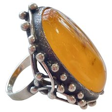 Vintage Polish Baltic Amber Silver Ring
