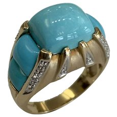 LeVian 14k Turquoise  and Diamond Ring