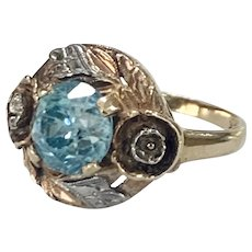 Vintage Zircon Tri Color 10k Gold Ring