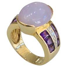 Lavender Jade 14k Gold Ring