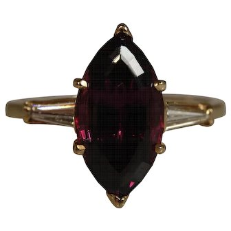 Vintage Rubellite Tourmaline and Diamond Ring
