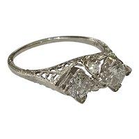 Art Deco Sweetheart 18k White Gold Diamond Ring