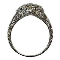 Elegant Art Deco Diamond Ring with Sapphires