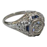 Art Deco Diamond Ring in 18 Karat White Gold