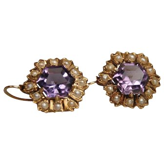 Vintage 18k Amethyst Earrings