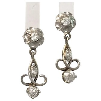 Vintage Estate Diamond Earrings with Old Cut Diamonds