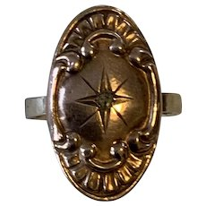 Victorian Oval Ring with Rose Gold Top, Center Diamond, and Period Style Repousse Decoration. Size 6 1/2.