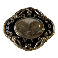 Victorian Mourning Brooch, Gold Filled with Black Enamel