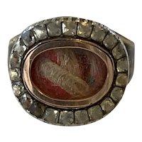 Georgian Mourning Ring Set in Georgian Style. Size 9.
