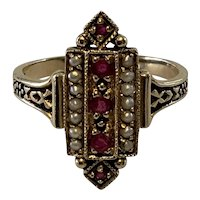 Victorian Ruby and Seed Pearl Ring. Size 7.