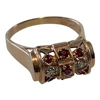 Art Deco Barrel Ring with Rubies and Diamonds. Size 10.