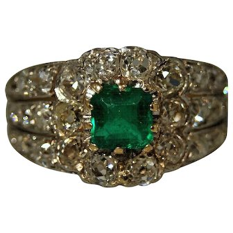 Mid Century Custom 18 Karat Yellow Gold and Platinum Emerald and Diamond Ring