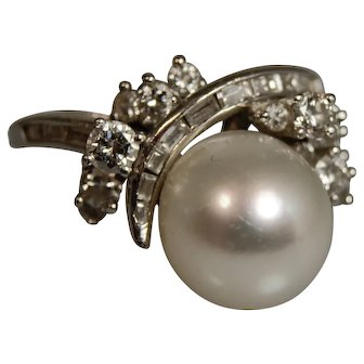 Mid Century Platinum Cultured Pearl and Diamond Ring