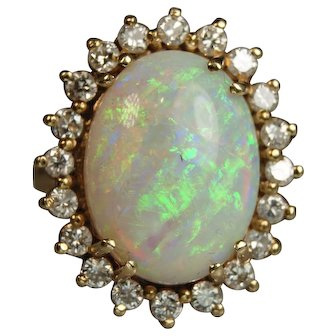 Mid Century Opal and Diamond Ring 14 Karat Yellow Gold