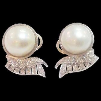 14 karat Fine Estate Mabe Pearl Earrings