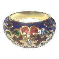 Enamel & Diamond 14 karat Gold Ring With Sparkling Central Diamond