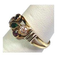 MULTI GEM & GOLD Ring- Solid Gold- Natural Gemstones- Estate Ring