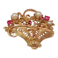 Vintage Ruby and Pearl Brooch- Basket of Pearls and Rubies- 18k Solid Yellow Gold- Estate Find