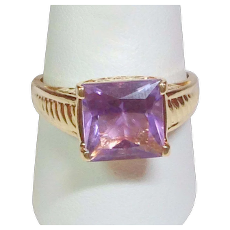 18K Kunzite Ring - Fully Hallmarked & Stamped Solid Yellow Gold - Gorgeous Faceted Princess Cut Quality Stone