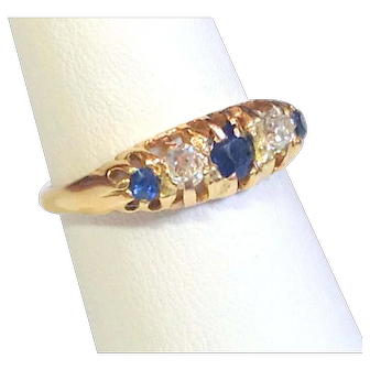 Antique EDWARDIAN RING- Quintet of Precious Sapphires and Diamonds - Hallmarked- 18K