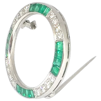 Cartier Art Deco Platinum Diamond Emerald Eternity Brooch
