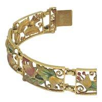 Masriera Solid 18k Yellow Gold Panel Style Belle Epoch Bracelet