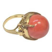 18k Solid Gold Coral Ball Ring