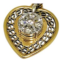 Mid Century 14k Yellow Gold Heart Locket with Diamonds