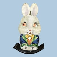 Rocking Rabbit Toy with Moving Eyes Marks Bros. Pressed Paper