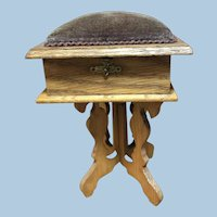 Miniature Oak Sewing Table With Pin Cushion Top