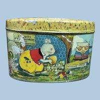 Vintage Happy Jack Squirrel Thornton Burgess Lithographed Tin Bank