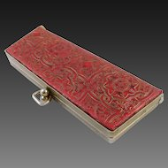 Red Tooled Leather Glasses Case