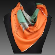 1950s Abstract Leaf Print Scarf