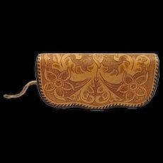 Vintage Tooled Leather Clutch Bag