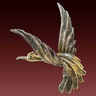 Signed ART MODE ART articulated wing figural bird pin
