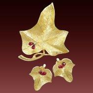 BSK Rhinestone Bees on Leaves Pin Earrings