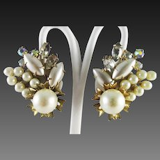 Beau Jewels pearl clustered and AB rhinestone earrings